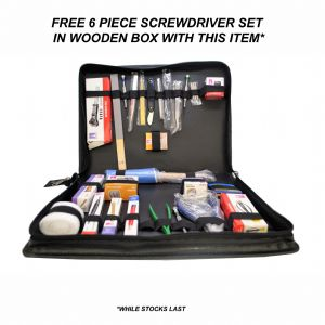 Deluxe Watchmakers Watch Repair Tool Kit in Faux Leather Case + FREE Screwdriver Set. J2128
